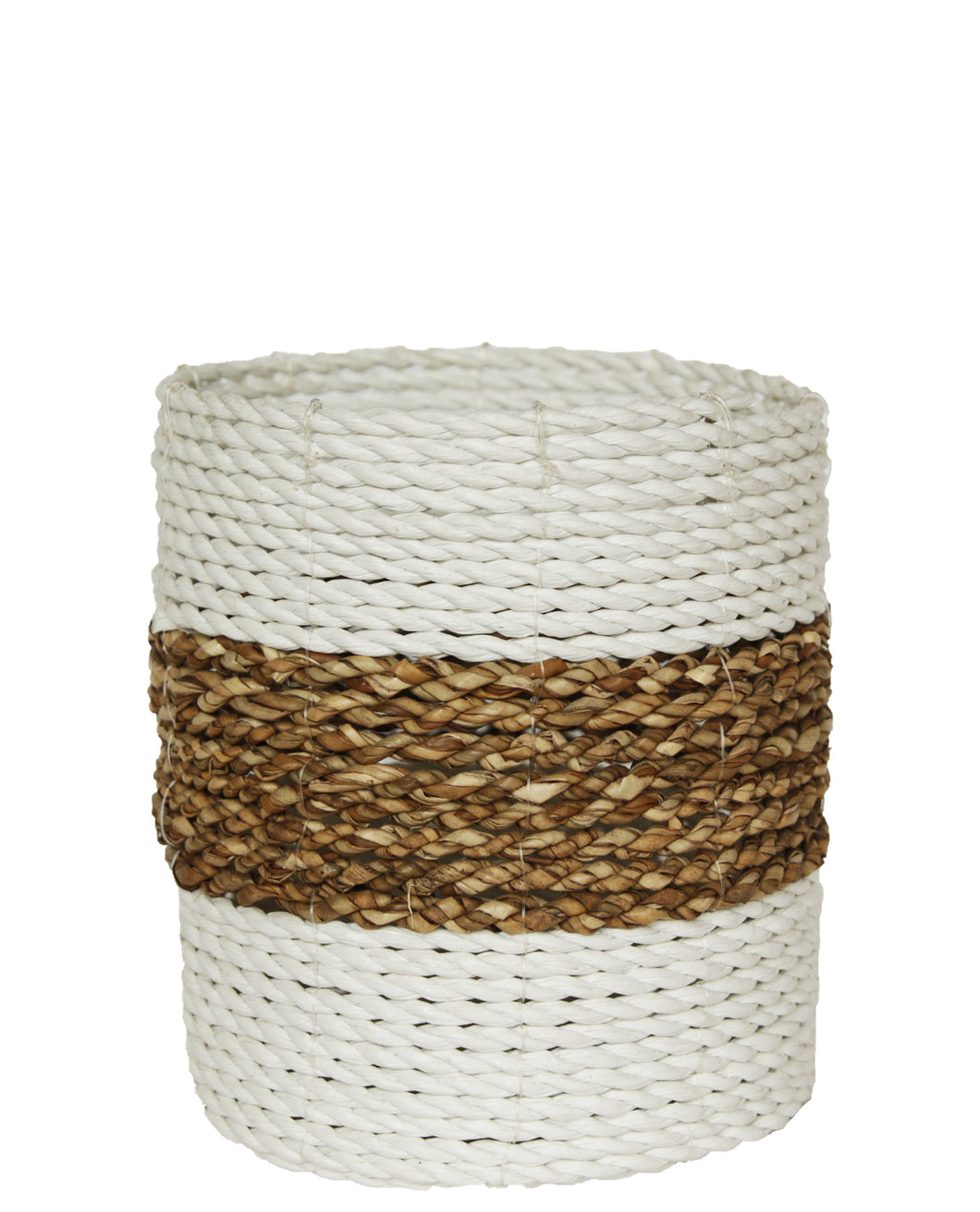 WOVEN RATTAN NATURAL AND WHITE BASKET SMALL
