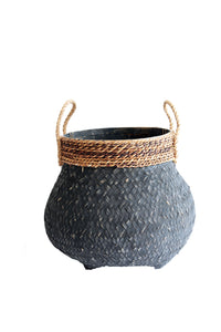 BLACK BAMBOO AND BANANA LEAF BASKET