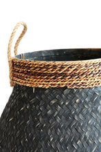 Load image into Gallery viewer, BLACK BAMBOO AND BANANA LEAF BASKET