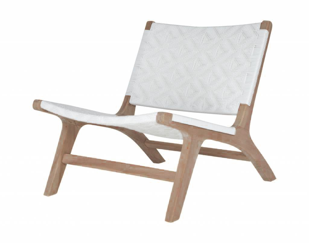 TEAK WOOD WHITE LOUNGE CHAIR