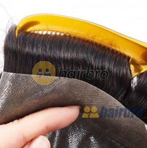 French Lace Front with Poly Back Hair Replacement System For Men