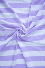 Load image into Gallery viewer, Tilly and the Buttons Lilac Stripe Organic Cotton Jersey Knit Fabric. By the half metre.
