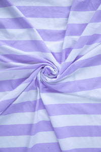 Tilly and the Buttons wide lilac stripe cotton Spandex dress jersey knit fabric. By the half metre.