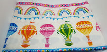 Load image into Gallery viewer, Hot air balloon white 5 x fat quarter bundle. Rainbows, balloons, dots. Craft cotton fabric.