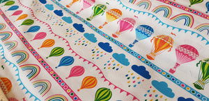 Rainbow Hot Air Balloon by Stuart Hillard: by the half metre. Quilt craft cotton fabric.