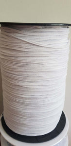 Flat braided elastic 3mm wide by the metre. White. Suitable for facemasks