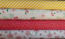 Load image into Gallery viewer, Singing in the Rain cotton fabrics: fat quarter bundle of 4 floral fabrics. Riley Blake.