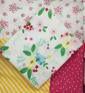 Singing in the Rain cotton fabrics: fat quarter bundle of 4 floral fabrics. Riley Blake.