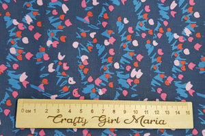 Sweet Honey Kisses: Tulips Navy blue cotton fabrics: by the fat quarter. Riley Blake. Floral fabric.