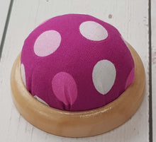 Load image into Gallery viewer, Funky Polkadot Pin Cushion with wooden base. Pincushion sewing or craft gift. Stocking filler.
