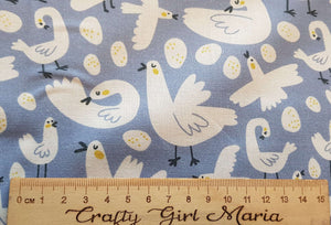 Chicken and Egg Cotton  Craft Quilt Cotton Fabric, fun kids Easter fabric by the half metre. By Little Johnny.