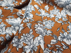 Mustard Yellow Floral Drapey Viscose Challis Floral dress fabric. By the half metre.