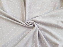 Afbeelding in Gallery-weergave laden, Grey white polka dot spot jersey knit fabric: by the half metre for dressmaking and T-shirts
