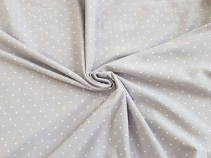 Grey white polka dot spot jersey knit fabric: by the half metre for dressmaking and T-shirts