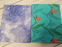 Load image into Gallery viewer, Birds of Paradise 5 x fat quarter bundle craft cotton quilting fabric. Tropical Navy blue and orange.