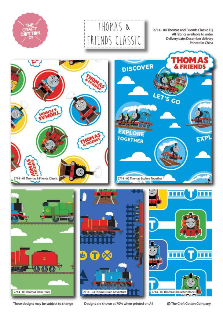 Thomas Tank Engine and Friends 5 x fat quarter bundle craft cotton quilting fabric.