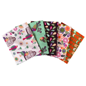 Meadow Birds bundle of 5 fat quarters. Quilting cotton fabric, crafts. Floral fabric, birds, birdcage.