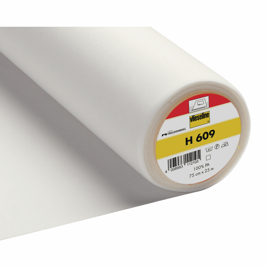 White Vlieseline iron on fusible stretch jersey woven interlining interfacing 75cm by the half metre: H609