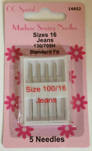 Sewing Machine Needles: various packs of 5. Universal fine, medium, heavy, assorted, jeans