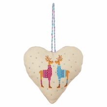 Load image into Gallery viewer, Counted Cross Stitch Kit heart Christmas decoration festive door hanger: reindeer, snowman
