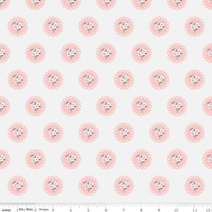 White Doily: Abbie's Garden cotton fabrics: by the fat quarter. Riley Blake. Floral fabric.