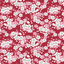 Load image into Gallery viewer, Woodland Aster by the Fat quarter - olive, carmine; floral quilting cotton fabric by Tilda.