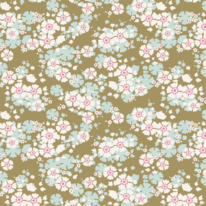 Woodland Aster by the Fat quarter - olive, carmine; floral quilting cotton fabric by Tilda.