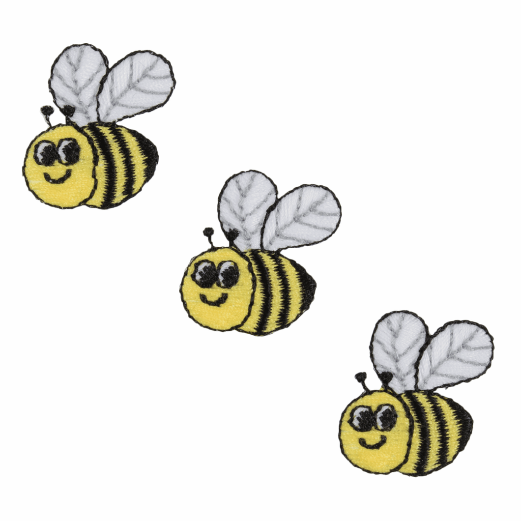 Set of 3 Bees Embroidered Appliqué Iron On Sew On Patch Motif Embellishment