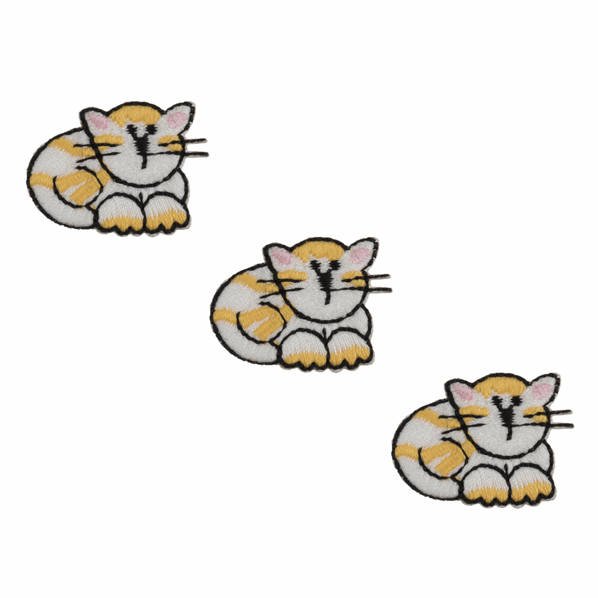 Set of 3 Cats Embroidered Appliqué Iron On Sew On Patch Motif Embellishment