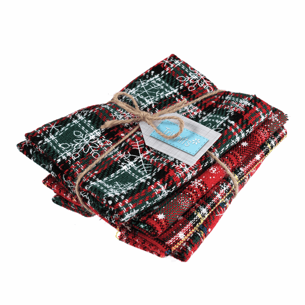 Christmas Red Snowflake Tartan Fat quarters: Scottish Plaid bundle of 4 fabrics.