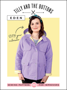 Tilly and the Buttons Eden raincoat waterproof coat sewing pattern. Easy to follow.