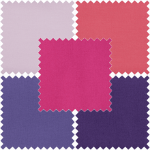 Load image into Gallery viewer, Bundle Of 5 Plain/Solid Cotton Fat Quarters: pink and purple colours. Quilting Cottons by Trimits.