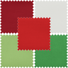 Load image into Gallery viewer, Bundle Of 5 Plain/Solid Cotton Fat Quarters Blenders: green, red and white festive colours. Quilting Cottons by Trimits.