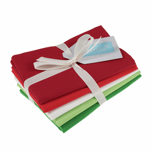 Bundle Of 5 Plain/Solid Cotton Fat Quarters Blenders: green, red and white festive colours. Quilting Cottons by Trimits.