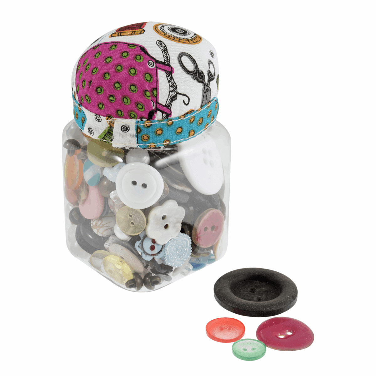 Buttons in a Jar With Pin Cushion. Great Sewing Pincushion Gift.
