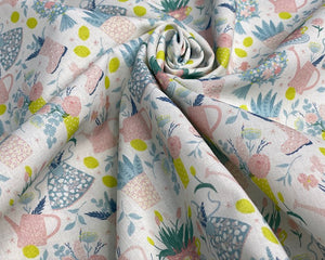 Spring floral polka dot wellies cotton dress, craft, quilting fabric. By the half metre.