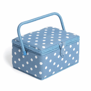 Denim Spot Medium Sewing Box (18.5 x 26 x 14.5 cm). With pincushion and lift out compartment.