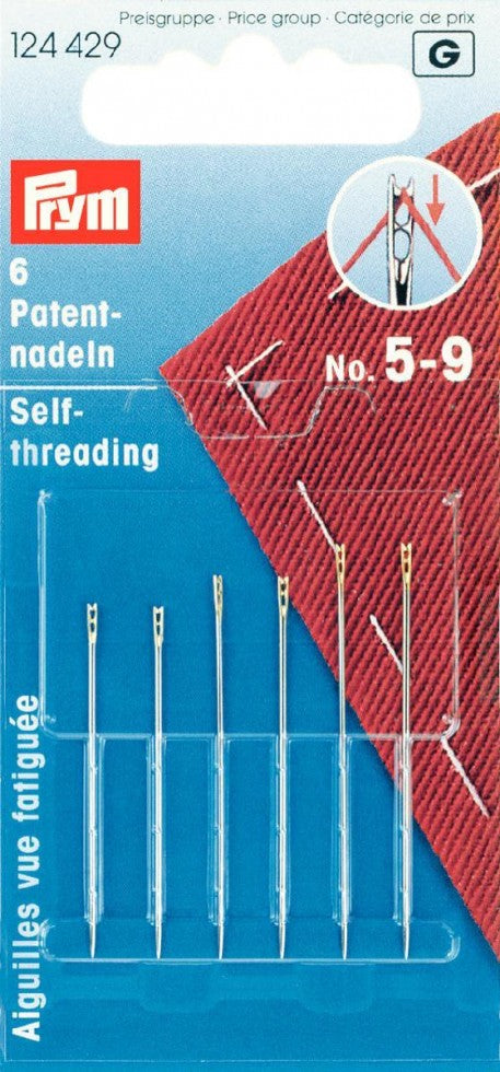 Prym self threading sewing needles: pack of 6, Size numbers 5-9