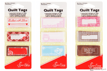 Load image into Gallery viewer, Quilt Sewing Tags Clothing labels handmade for/quilted for/ with love slogan