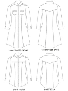 Tilly and the Buttons Rosa top and shirt dress sewing pattern. Easy basic pattern.
