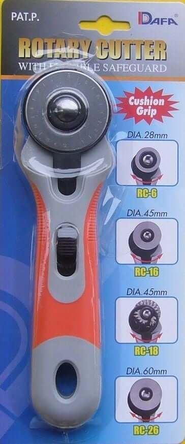 Dafa 28 /45/60 mm Rotary Cutter, sewing, crafts. With flexible safeguard and soft grip handle.