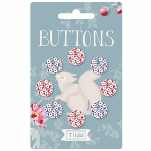 Woodland fabric covered Buttons x 9 pcs 12 mm by Tilda