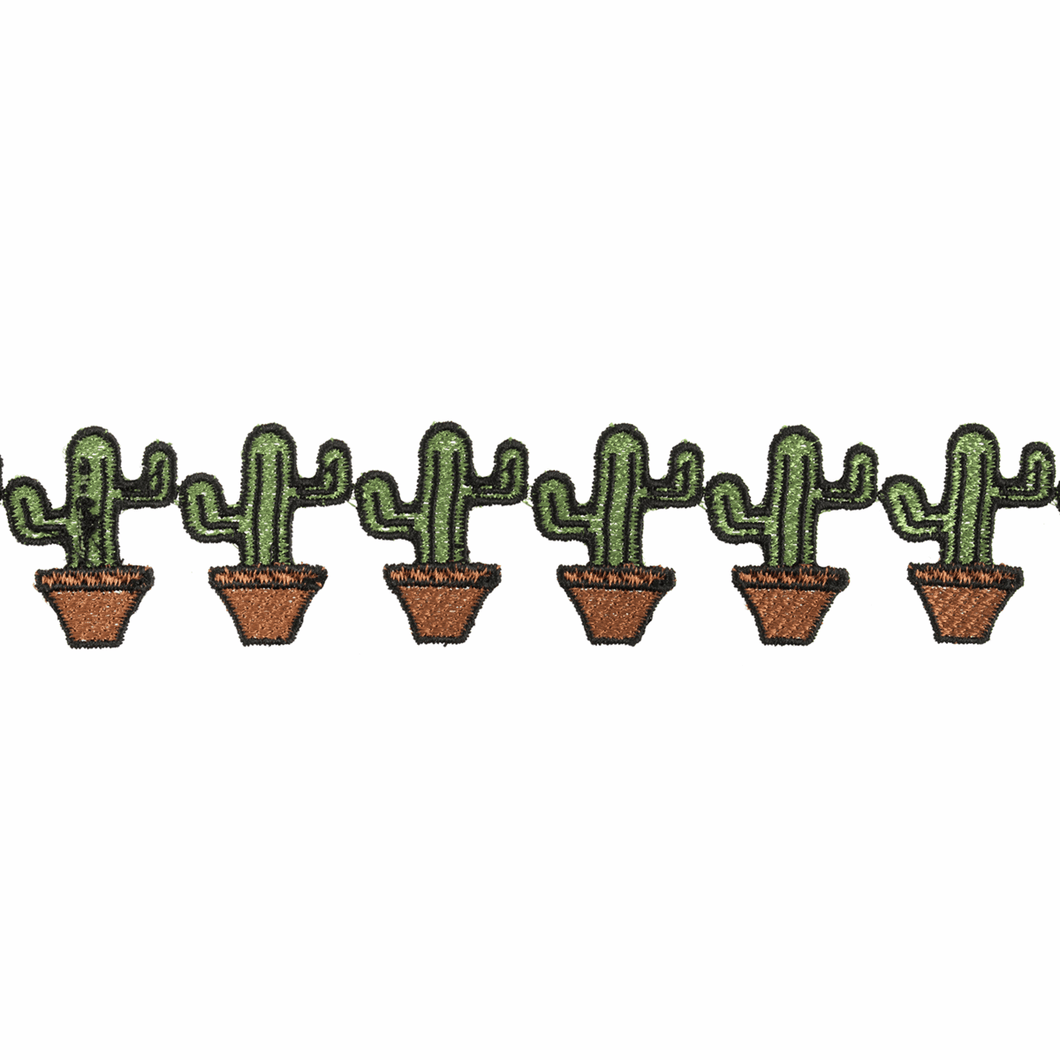 Cactus strip trim embellishment. 39 mm tall by the metre.