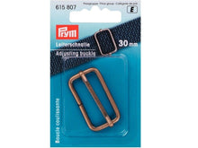 Load image into Gallery viewer, Prym Adjusting Buckle (for bag straps, bag making) 30 mm/40 mm: silver, antique silver, brass.