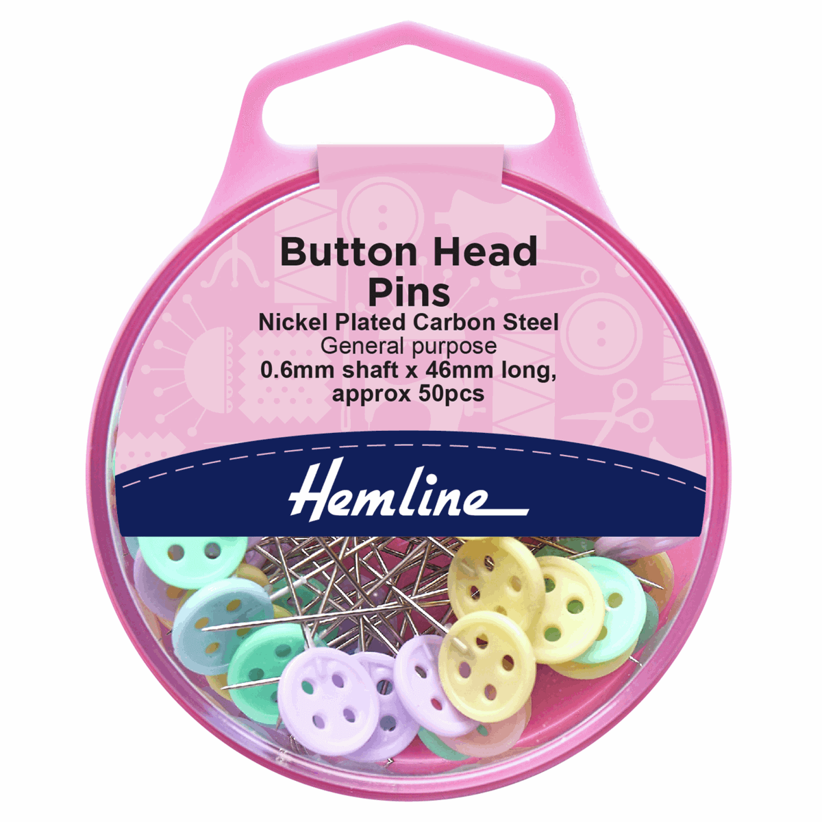 50 Button headed sewing pins in reusable storage box. Hemline. 46 mm x 0.6 mm