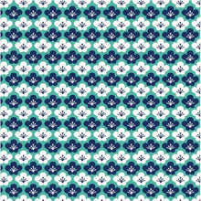 Load image into Gallery viewer, Kyoto Blossom entire range by the fat quarter. Stuart Hillard. Blues, greens, floral, Japanese inspired.