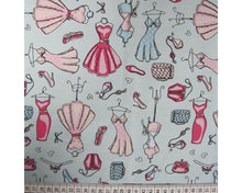 Load image into Gallery viewer, Vintage dress mannequin cotton poplin fabric. Aqua and pink. By the half metre.