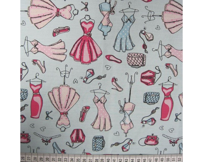 Vintage dress mannequin cotton poplin fabric. Aqua and pink. By the half metre.