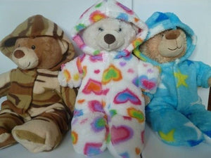 Teddy bear clothes: hooded onesie sewing pattern, with hoodie/jacket hack (instant PDF download)
