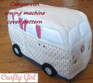 Campervan Fabric Sewing Machine Cover Pattern: PDF download. Vintage style.